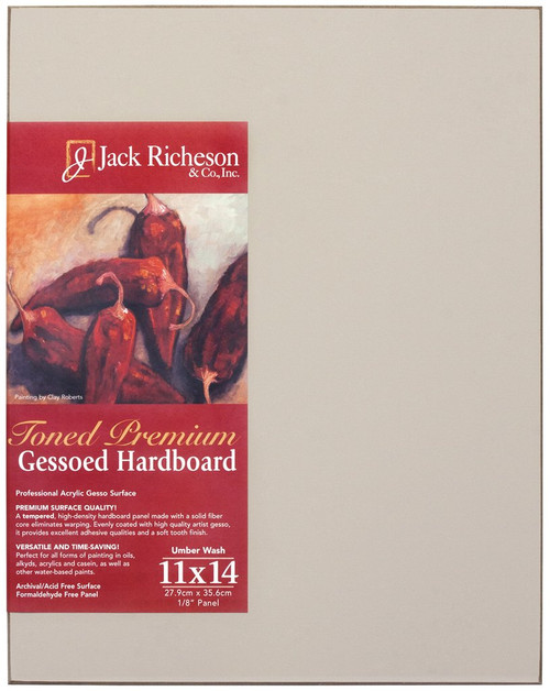 "364930, UMBER  Wash  1/8"" GESSO HARDBOARD PANEL, 11""x 14""              each"