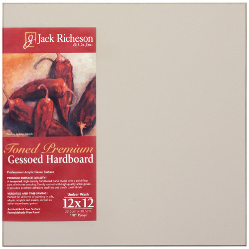 "364931, UMBER  Wash  1/8"" GESSO HARDBOARD PANEL, 12""x 12""              each"