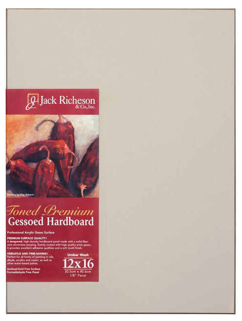 "364932, UMBER  Wash  1/8"" GESSO HARDBOARD PANEL, 12""x 16""              each"