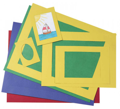 343222, Pacon Pre-Cut Mat Frames, Assorted Colors, Assorted Sizes