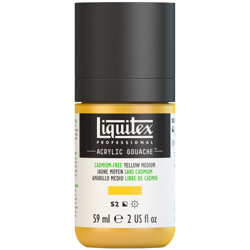 382745, Liquitex Acrylic Gouache, Cadmium-Free Yellow Medium, 2oz.