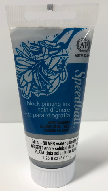 623414, Water-Soluble Block Printing Ink, 1.25oz    Silver