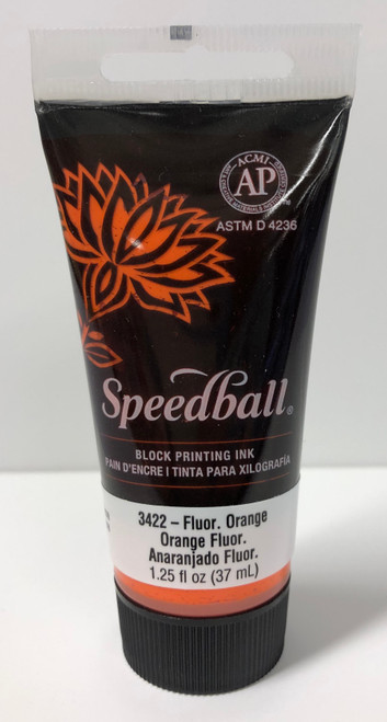 623422, Water-Soluble Block Printing Ink, 1.25oz    Flourescent Orange