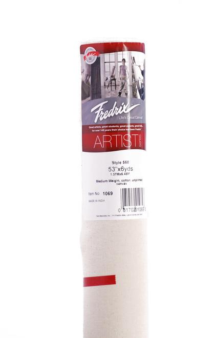"""365101, Fredrix Canvas Roll, Raw 7oz. Style 568, 52""""x6yds."""