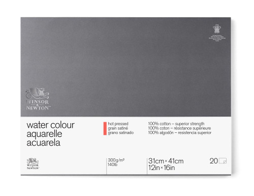 "346469, W & N Pro Watercolor Block,Hot Press, 12"" x 16"" 20 sheets"