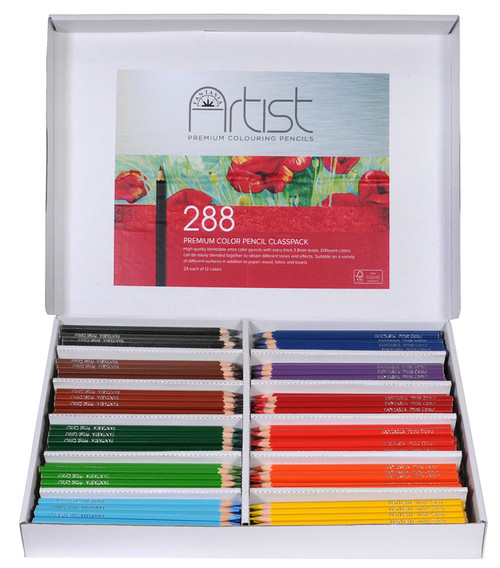 446013, Fantasia Premium Aritst Color Pencils Class Box, 12 colors, 24 each
