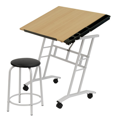 700201, 2 pc. Mobile Studio Center with Tilting Top Table and Stool