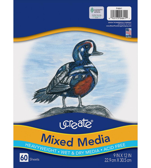314340, Ucreate Mixed Media Paper, Heavyweight, 9x12, 60/Sheets