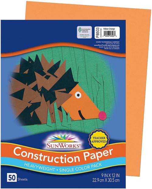 "341316, Sun Works Construction Paper, Yellow-Orange, 9""x12"", 50 Sheets"