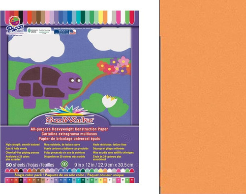 "341345, Sun Works Construction Paper, Yellow-Orange, 12""x18"", 50 Sheets"