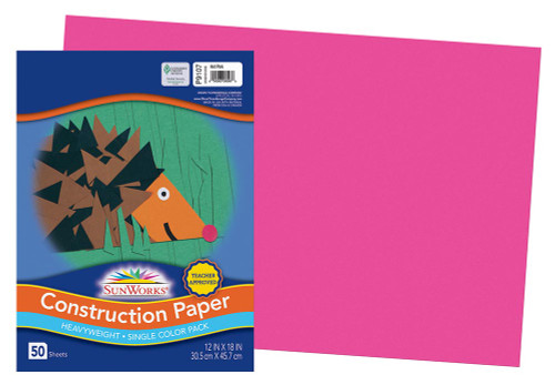 """341346, Sun Works Construction Paper, Hot Pink, 12""""x18"""", 50 Sheets"""