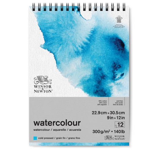 "346451, Winsor & Newton Watercolour Pad, 140lb Cold Press, 9""x12"", 12 Sheets"