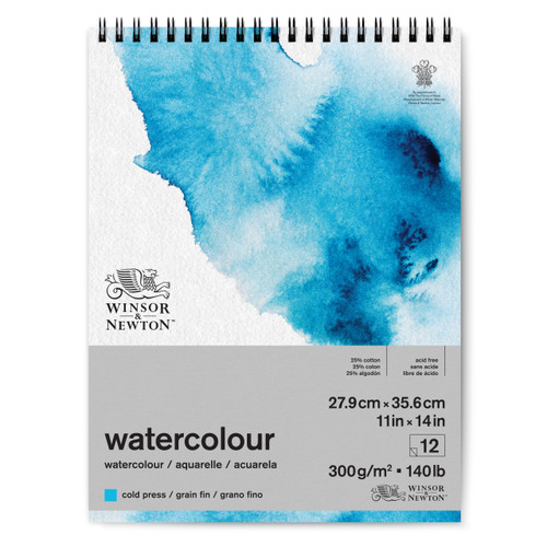 "346452, Winsor & Newton Watercolour Pad, 140lb Cold Press, 11""x14"", 12 Sheets"