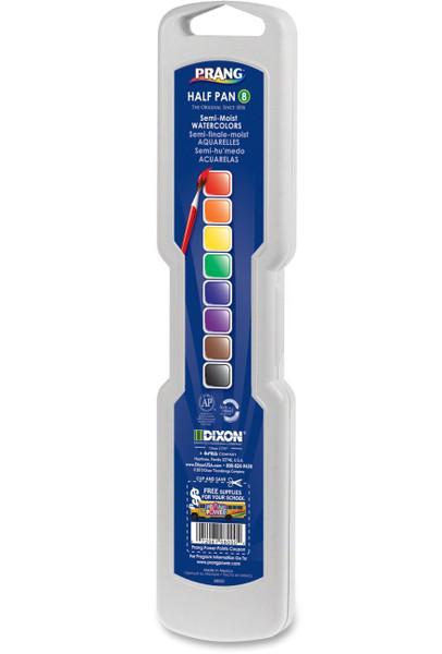 374313, Prang,Semi-Moist Watercolors, 8 half pan colors w/brush
