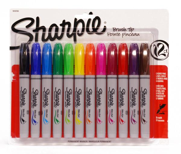 438088, Sharpie Set, Brush Tip, Assorted, 12/markers