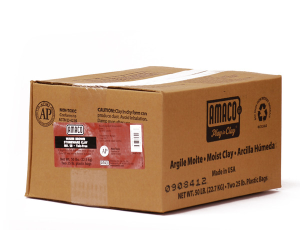 617706, Amaco Warm Brown Stoneware Clay, No.58, High Fire, 50lbs.