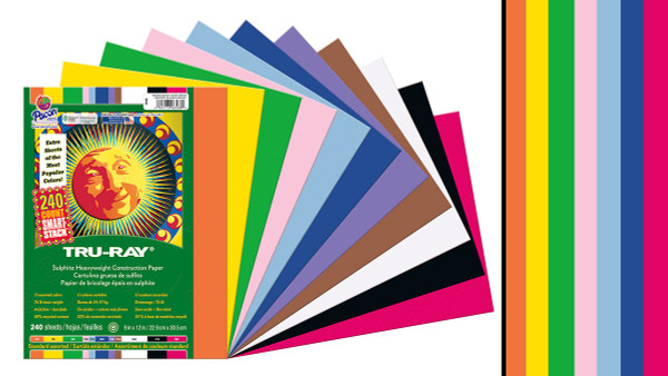 """342120, Tru-ray Construction Paper, Bright Assorted, 9""""x12"""" 50 sheets"""