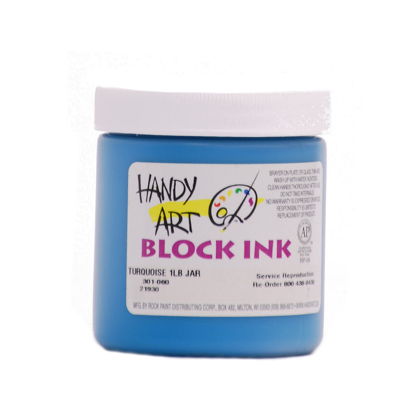 625017, Handy Art Water Soluble Block Printing Ink, Turquoise, 1/2 lb. Jar