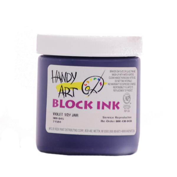 625019, Handy Art Water Soluble Block Printing Ink, Violet, 1/2 lb. Jar