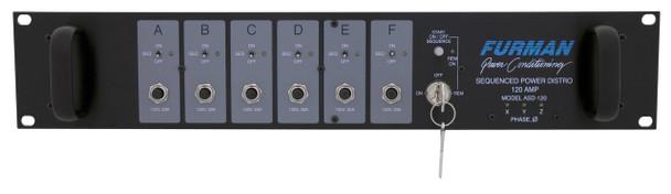 Furman 120A Sequenced Power Distro, (6) 20A 120V Circuits,  240V Or 3Ø 208V Input, 2RU, ASD-120 2.0