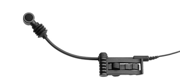 Sennheiser Super-cardioid clip-on dynamic with flexible gooseneck for brass, wind instruments and drums. Includes MZQ608 clip. 0.71 oz., e608