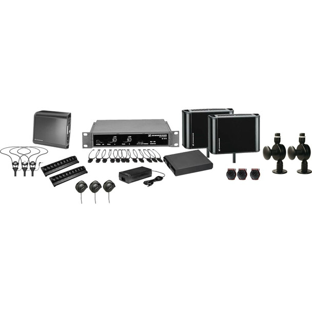 Sennheiser 2.3/2.8 MHz two channel / stereo infrared system package for ADA compliance. Coverage up to 12,500 sq ft., ADA12500Dual