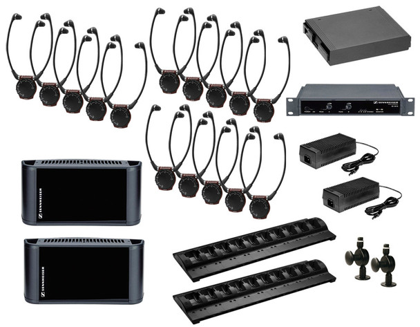 Sennheiser 2.3/2.8 MHz infrared system package to cover 12,500 sq ft in dual channel mode, SI1015-12500DUAL