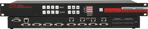 Hall Research 4x4 VGA + Audio Matrix Switch with UTP Output and IP Control, VSM-I-A-4-JA4