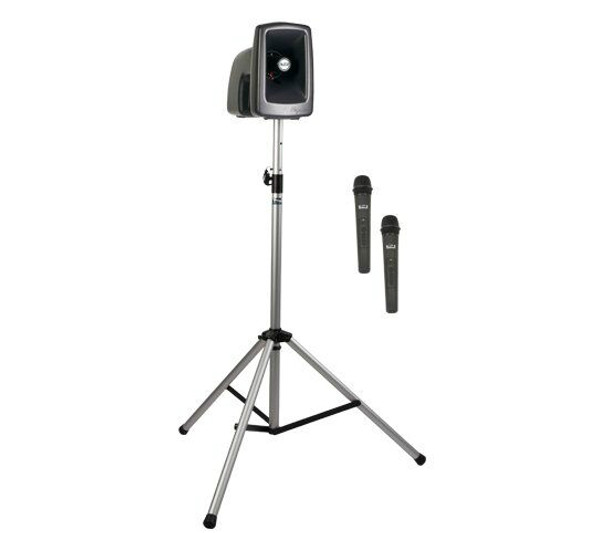 Anchor Audio MegaVox Basic Package 2 includes MEGA2-U2, SS-550, and choice of two wireless handheld mics and/or headband and lapel mics with belt packs, MEGA-BP2
