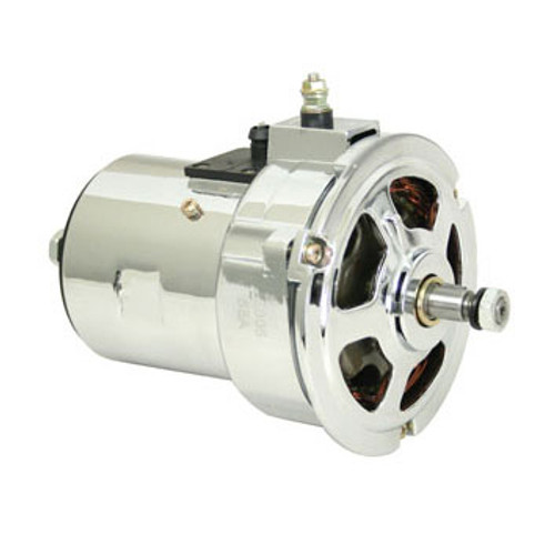 Chrome platted EMPI 75 AMP alternator built with all new components. Get the power you need to operate amp hungry accessories and high output ignition systems. These units have a higher amp output than stock units.