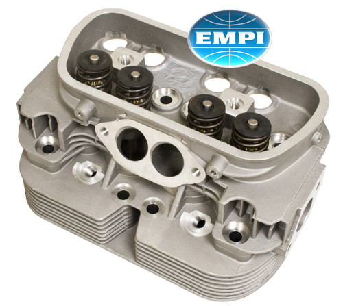 "EMPI's new (not rebuilt) Complete VW Cylinder Head for Dual Port Type 1 based engines is machined for 85.5 or 87mm Pistons & Cylinders. This head is machined for a 12mm, 3/4"" reach spark plug which means there is more material between the valves so it is less prone to cracking than original heads. The head comes with 35mm Intake & 32mm Exhaust Valves in 8mm Bronze Valve Guides. The cylinder head has a drilled and tapped Fuel Injection Head Temp Sensor Hole. The heads are sold individually, 2 are required per engine. The VW dual port head is originally used on 1971 through 1974 VW Beetles & Karmann Ghias, 1971 Type 2 Bus Models and 1973 to 1974 Things. This head will fit 1500 & 1600cc VW Type 1 based engines that use 85.5mm or 87mm Pistons & Cylinders and dual port carbureted intake manifolds.  12mm, Long Reach Spark Plugs (linked here) are must be used instead of stock Bosch Plugs."