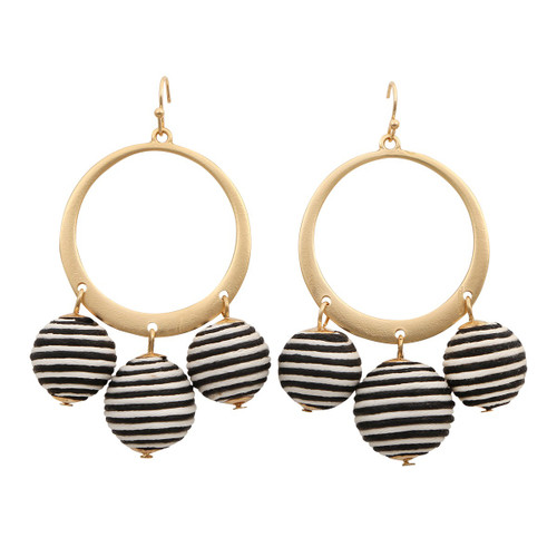 Gold Hoop Stripe Ball Drop Earrings