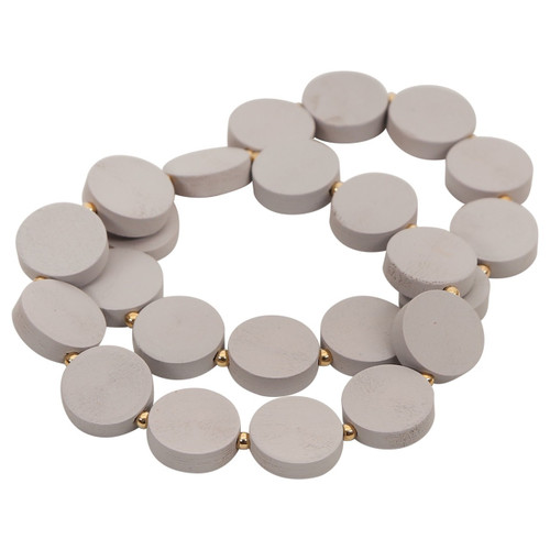 Double Strand Grey Wooden Discs Bracelet