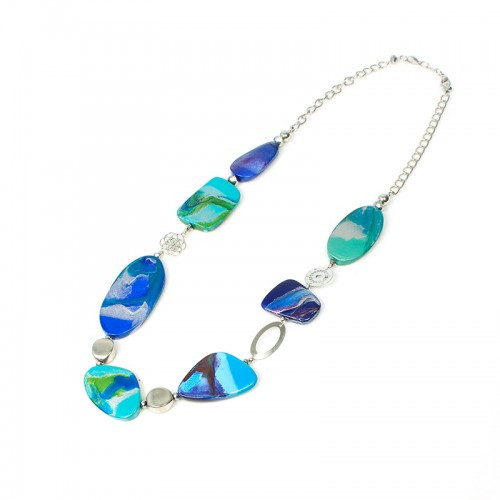 Long Silver Chain Abstract Ocean Disc Pendant Necklace
