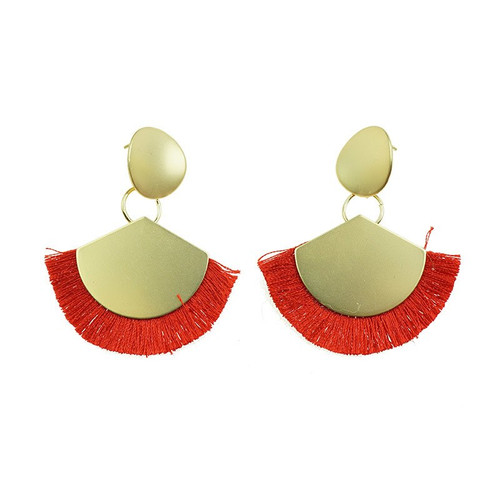 Loving My Gold Earrings With Red