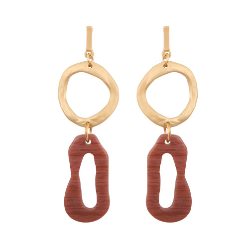 Abstract Golden Duo Earrings