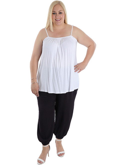 plus size loose fit white cami