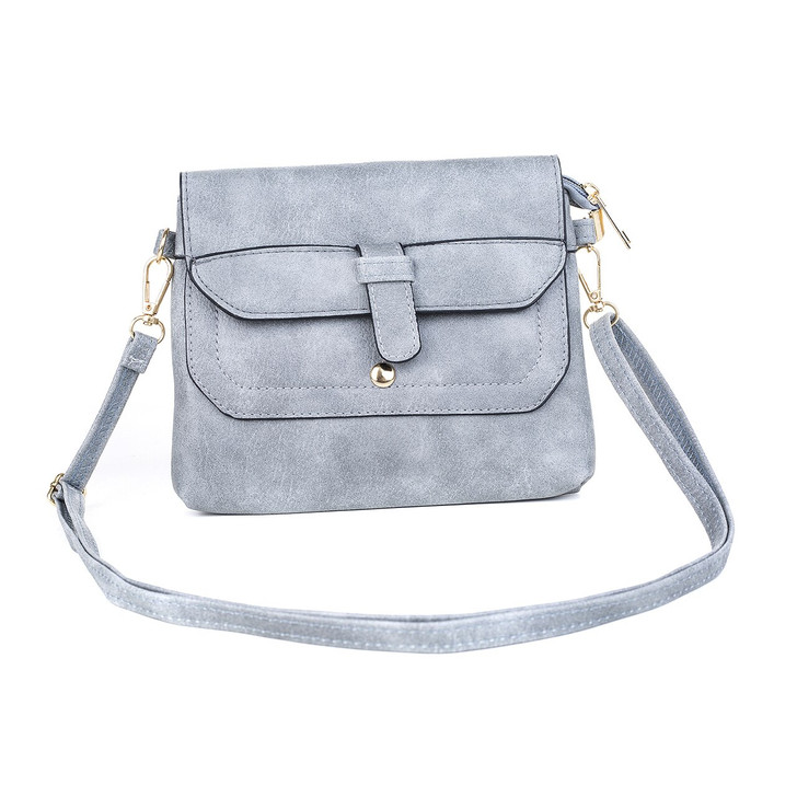 Grey Buckle Bag with Removable Straps