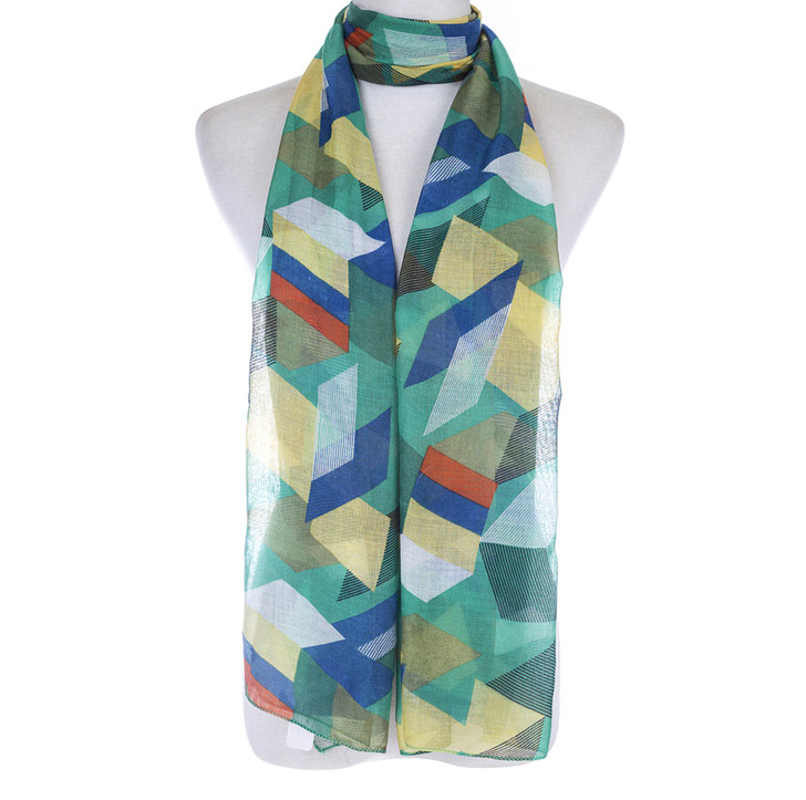 Green Abstract Print Cotton Blend Scarf