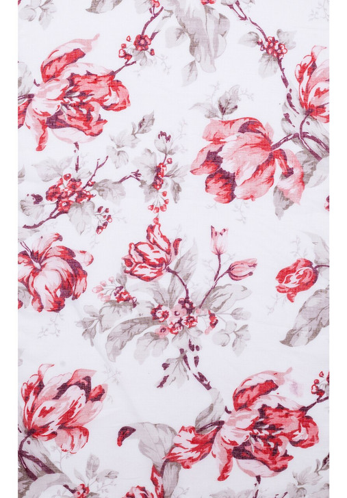 Red Floral Cotton Blend Scarf