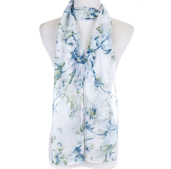 Green Floral Cotton Blend Scarf