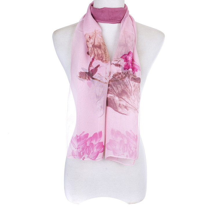 Pink Abstract Floral Chiffon Scarf