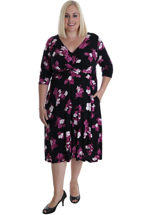 Purple Floral Knotted Bust Jersey Dress