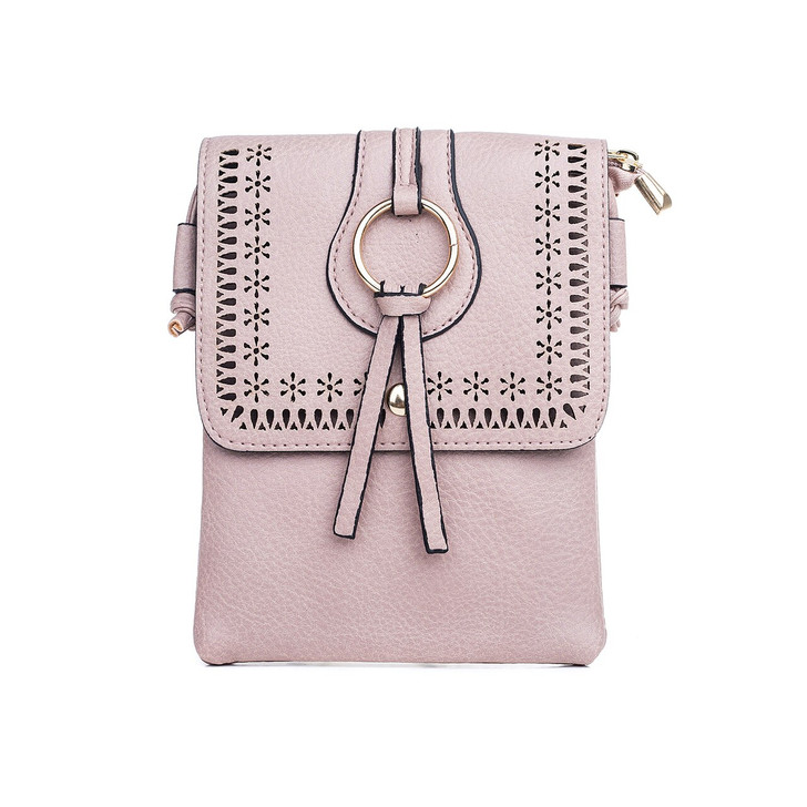Pink Laser Cut Gold Ring Bag With Tassel