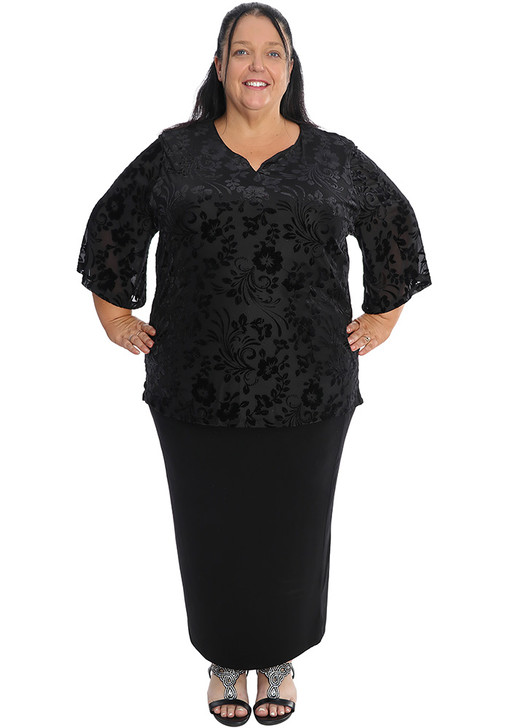Black Burn Out Velvet Top