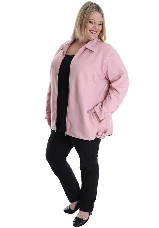 plus size pink faux suede jacket