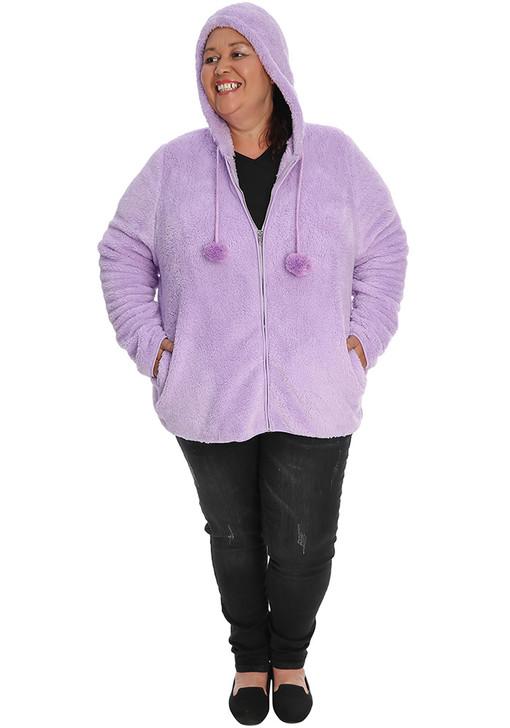 Lilac Fluffy Hoodie Jacket With Pom Poms