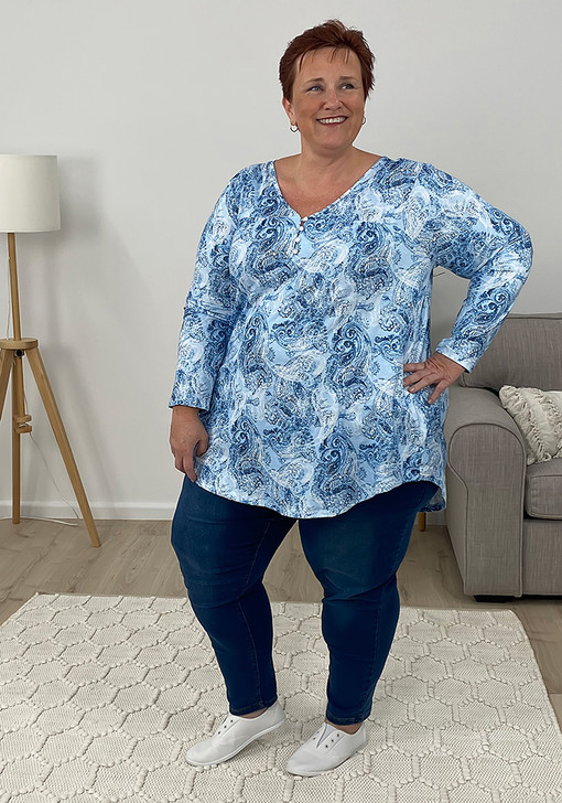 Plus Size Blue Paisley Top