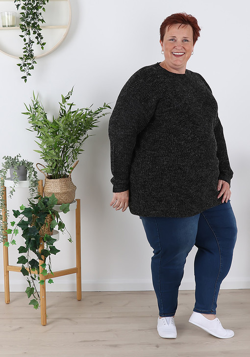Plus Size Black Stretchy Every Day Jumper