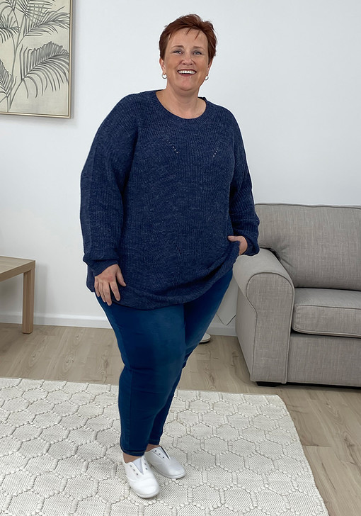 Plus Size Blue Stretchy Every Day Jumper